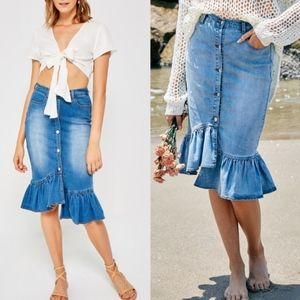 LILO Denim Ruffle Skirt